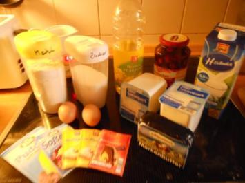 Käsekuchen mit Kirschen gefüllt - Rezept