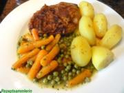 Fleisch:    STIELKOTELETT mit feinen Erbsen + Möhren - Rezept
