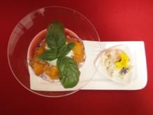 Hibiskusgelee mit Pfirsich und Basilikumsahne - Rezept