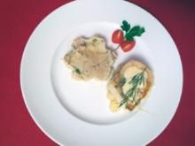 Zanderfilet mit Limettensößchen auf Champagner-Ananas-Kraut und Kartoffel-Oliven-Püree - Rezept