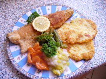 Dorsch an Gemüse und Kartoffelpuffer - Rezept