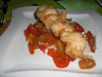 Hähnchen Spieß mit Paprika - Ananas Soße (süß/sauer) - Rezept