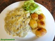 Fisch:   SEELACHS mit Seitling-Käse-Kruste - Rezept