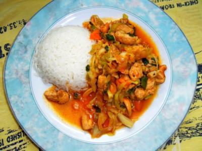 Asiatischer Hühnchen-Spitzkohl-Wok - Rezept