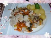 Geflügel :Pute mit Champignons - Möhren und Apfel - Rezept