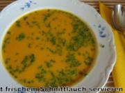 Butternutkürbis-Karotten Süppchen mit feiner Meerrettichnote - Rezept