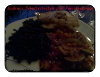 Fleisch: Schulterrollbraten mit Paprika-Zucchini-Gemüse mit thailändischen Klebreis - Rezept