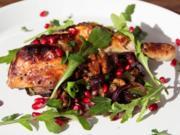 Hähnchen-Schenkel mit Granatapfel, Walnüssen, Aubergine - Rezept