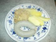 Zwiebel Speck Sauerkraut mit Leberwurst und Salzkartoffeln - Rezept