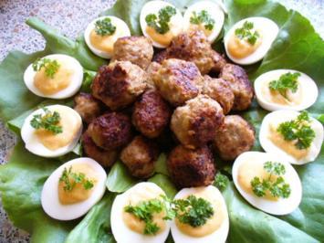 gefüllte Eier mit Hackbällchen - Rezept