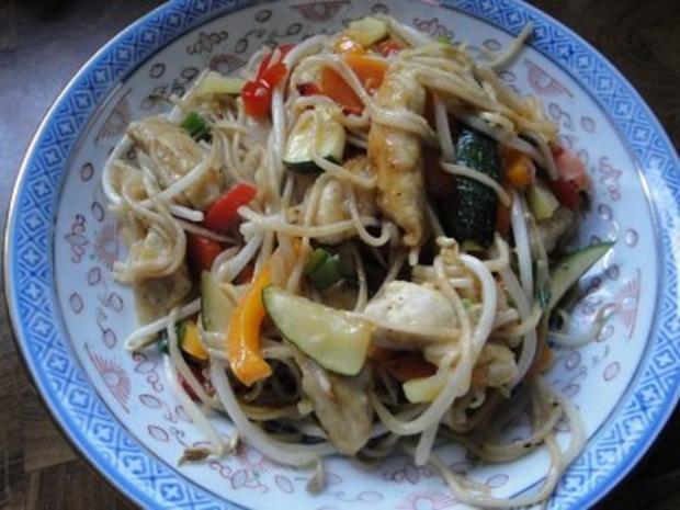 Chinesische Huhn-Nudel Pfanne - Rezept