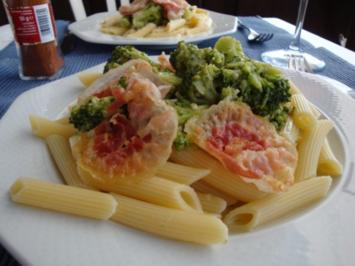 Brokkolinudeln, scharf, mit italienischem Speck - Rezept
