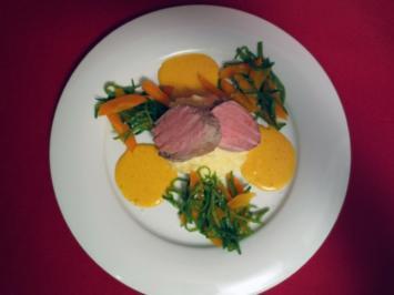 Schweinefilet mit Zitronengras-Kartoffelpüree und Zuckerschoten-Karotten-Gemüse - Rezept