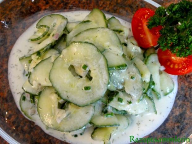 Salatbar:   GURKENSALAT mit Sahnesauce - Rezept
