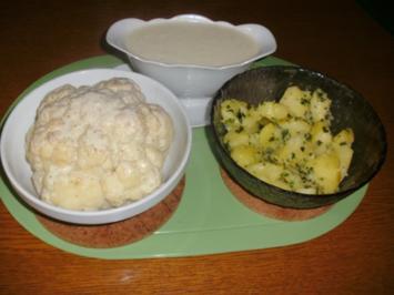 Blumenkohl im Ganzen mit Butter-Petersilien Kartoffeln - Rezept