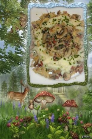 Rührei : im Nest mit Champignons und Schinken - Rezept