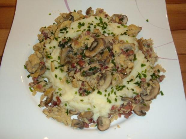 Rührei : im Nest mit Champignons und Schinken - Rezept - Bild Nr. 4