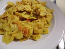 Pasta: Nudeln-Gemüserahm-Pfanne mit Garnelen - Rezept