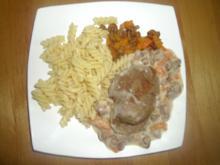 Rehschnitzel in feiner Rahmsoße (und Spiralnudeln) - Rezept