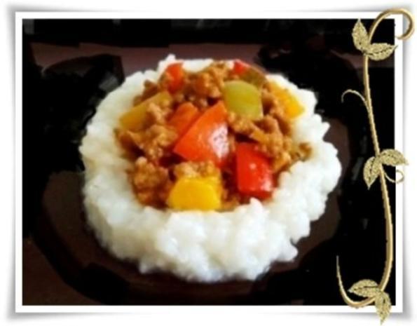 Raffinierte bunte Paprikapfanne  mit Hackfleisch und Reis dazu - Rezept