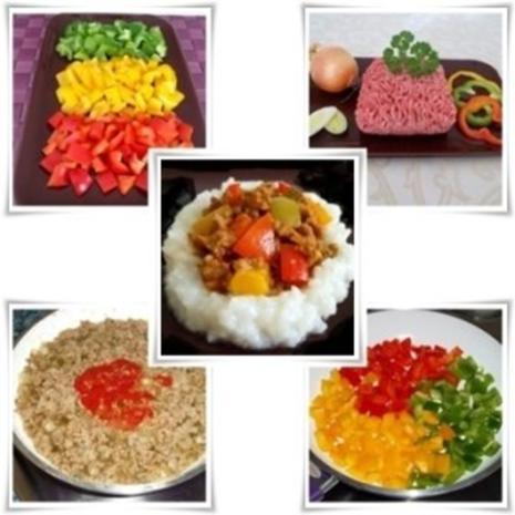 Raffinierte bunte Paprikapfanne  mit Hackfleisch und Reis dazu - Rezept - Bild Nr. 4