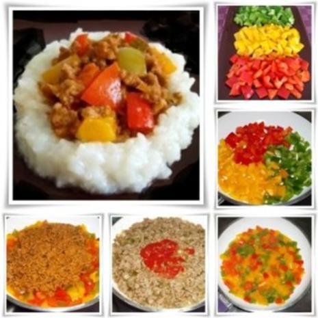 Raffinierte bunte Paprikapfanne  mit Hackfleisch und Reis dazu - Rezept - Bild Nr. 16