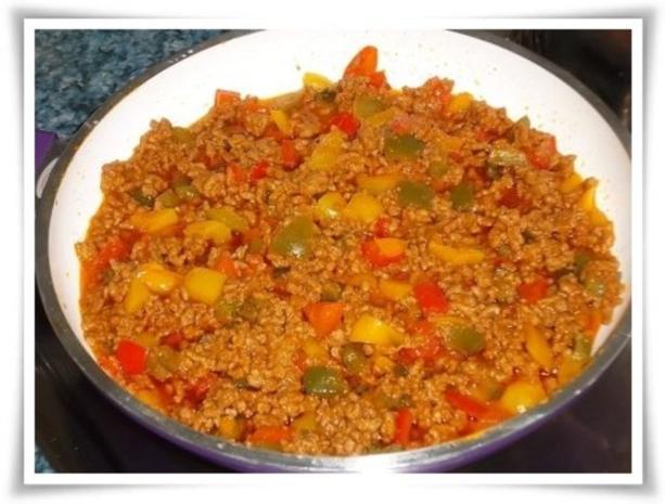 Raffinierte bunte Paprikapfanne  mit Hackfleisch und Reis dazu - Rezept - Bild Nr. 14