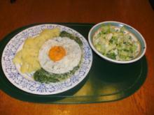 Pikanter Rahm- Spinat mit Spiegelei - Rezept