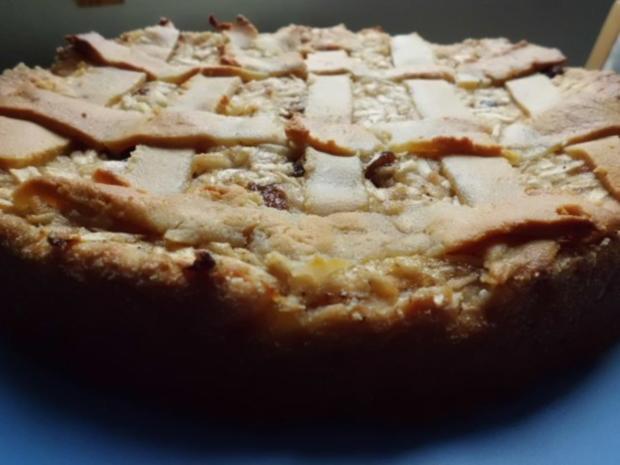 Kuchen: Apfelweinkuchen mit Marzipangitter - Rezept