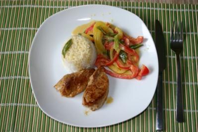 Schweinemedaillons mit Thaigemüse und Reis - Rezept