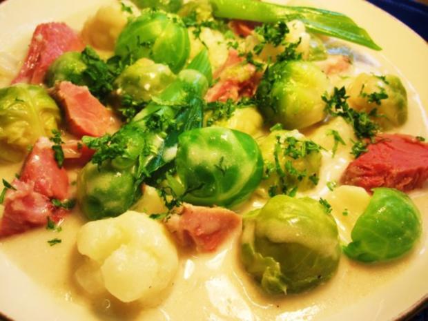 Rosenkohl-Blumenkohl-Suppe mit Eisbein ... - Rezept - Bild Nr. 8