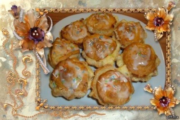 Kuchen : Blätterteig - Pudding - Marzipan - Apfel - Küchlein - Rezept