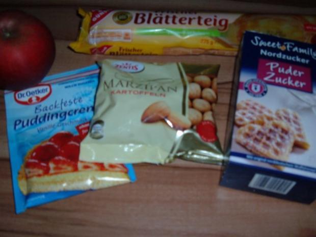 Kuchen : Blätterteig - Pudding - Marzipan - Apfel - Küchlein - Rezept - Bild Nr. 2