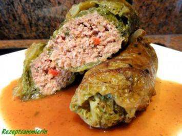 Gemüse:   WIRSING - ROULADEN mit Hackfüllung - Rezept