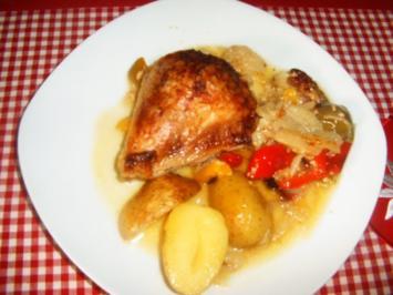 Rezept: Zwiebel-Sahne-Hähnchen vom Blech