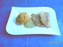 Fisch: Dorade paniert mit Süßkartoffelpüree und Senf-Dill-Soße - Rezept