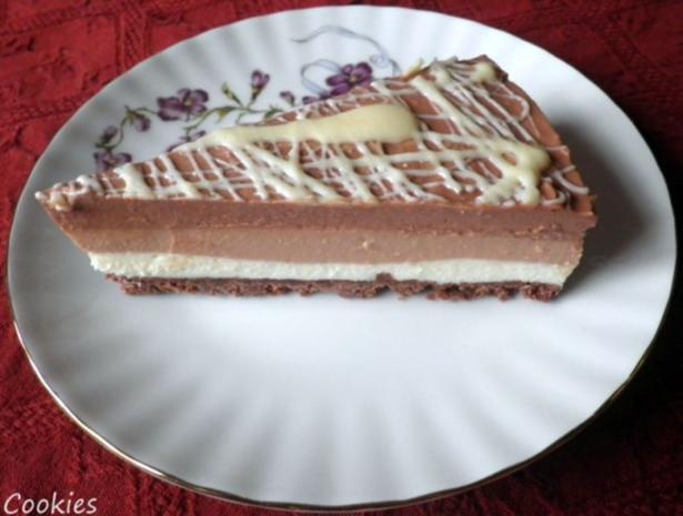 "Schokoladen - Käsesahne - Torte ""Tricolor"" ... - Rezept"