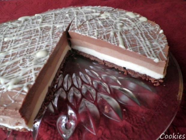 "Schokoladen - Käsesahne - Torte ""Tricolor"" ... - Rezept - Bild Nr. 4"
