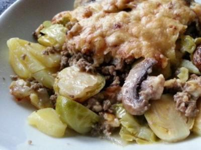 Kartoffel-Rosenkohl-Hack Auflauf - Rezept - Bild Nr. 2