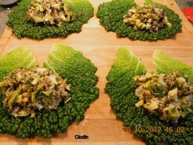 Champignons im Wirsingblatt - Rezept