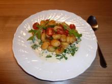 Paprika-Gnocchi mit Rucola-Sahne-Sauce - Rezept