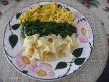 Pasta : Spinat mit Dinkel-Bandnudeln und Chili-Rührei - Rezept