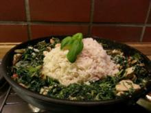 Hühnerbrust in Gorgonzola Soße an Blattspinat - Rezept