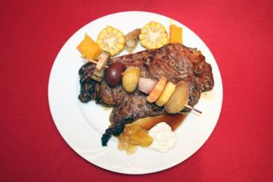 Rezept: Kobe Beef braai style mit Spieß von der Minikartoffel und Butternut-Kürbis