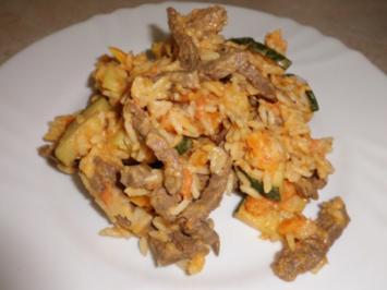 Pfannengericnt: Gemüse-Reispfanne mit Rindergeschnetzelten - Rezept