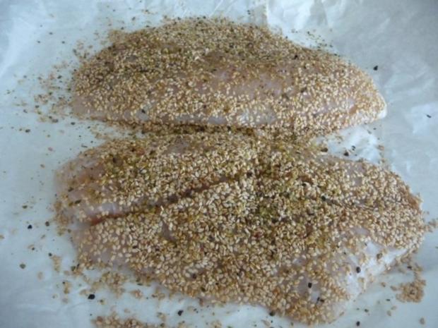 Fisch : Tilapia im Sesam paniert an Kartoffel - Gemüsebrei - Rezept - Bild Nr. 3