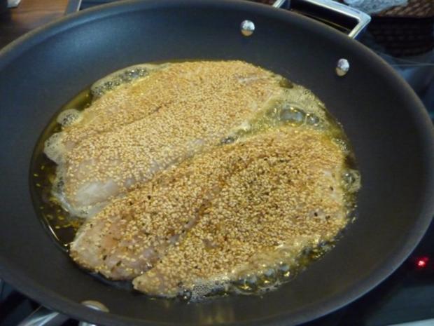 Fisch : Tilapia im Sesam paniert an Kartoffel - Gemüsebrei - Rezept - Bild Nr. 4