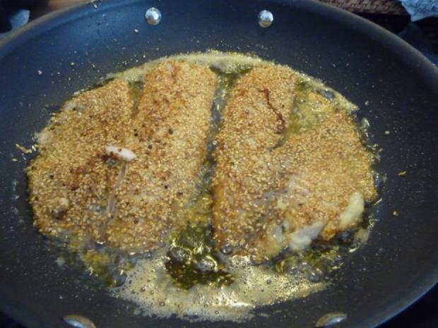 Fisch : Tilapia im Sesam paniert an Kartoffel - Gemüsebrei - Rezept - Bild Nr. 7