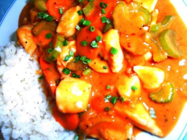 Hühnchen mit knackigem Gemüse, in Saté-Sauce - Rezept - Bild Nr. 2