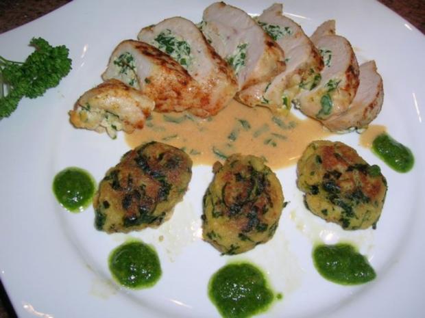 Hühnerbrust, gefüllt mit Ricotta und Bärlauch an Brot-Bärlauch-Nocken - Rezept - Bild Nr. 3
